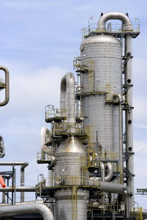 Equipment at an oil refinery facility. photo