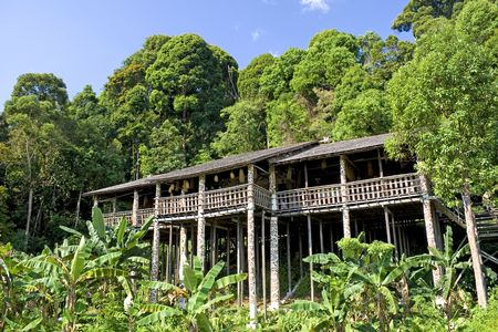 bamboo house: Image of a traditional native house, located in Sarawak, Malaysia. Stock Photo