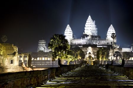 Night image of the UNESCO's World Heritage Site of Angkor Wat, located at Siem Reap, Cambodia. Stockfoto