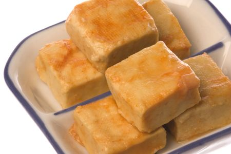 Isolated image of fermented beancurd. Stock Photo