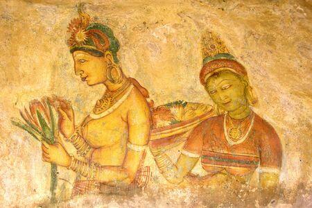 sigiriya: Image of ancient frescos on the wall of Sigiriya (Lions Rock), Sri Lanka. This is a UNESCO World Heritage site.