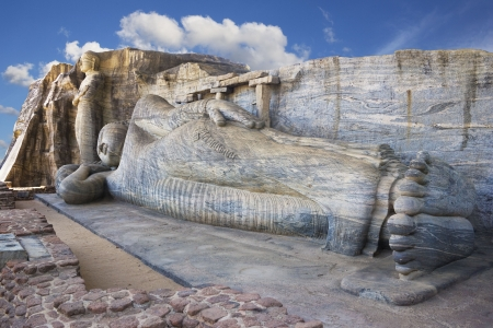 polonnaruwa: Image of a giant Buddha sculptures at Gal Vihara, Polonnaruwa, Sri Lanka. The colossal Buddha images, masterpieces of Sri Lankan Buddhist art, was carved on the face of a granite boulder, commissioned by Parakramabahu I (1153-1186 AD). This is a UNESCO Wo