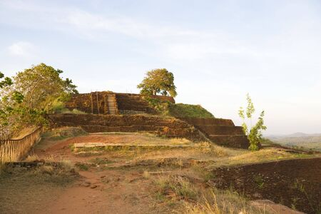 Image of UNESCOs World heritage site of Sigiriya (Lions Rock), Sri Lanka. This is an ancient rock fortress and palace ruin built during the reign of King Kassapa I (477-495 AD). photo