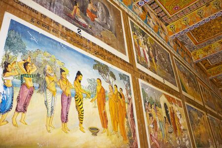3rd century: Image of a painted ceiling and wall at UNESCOs 3rd century World Heritage Site of Isurumuniya Temple, located at Anuradhapura, Sri Lanka.