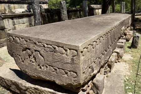 deeds: Image of the Galpota (Stone Book) at Polonnaruwa, Sri Lanka. This 12th century stone inscription at a UNESCO World Heritage site describes the genealogy and herioc and altruistic deeds of King Nissankamalla. Stock Photo