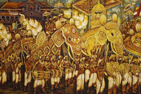 buddha sri lanka: Image of Buddhism inspired cloth painting at UNESCOs World Heritage site of Dambulla Golden Temple, Sri Lanka.