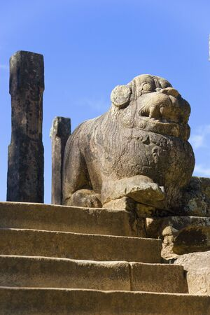 unesco world cultural heritage: Image of a lion at the Council Chamber on the grounds of the ancient Royal Palace at Polonnaruwa, Sri Lanka built by King Parakramabahu the Great (1153-1186). This is a UNESCO World Heritage site.