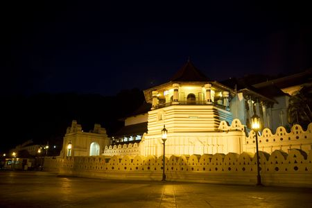 kandy: Night image of the Temple of Tooth at Kandy, Sri Lanka. This is a UNESCOs World Heritage site. The Temple of the Tooth is the worlds most sacred Buddhist site, where lies Buddhas tooth.
