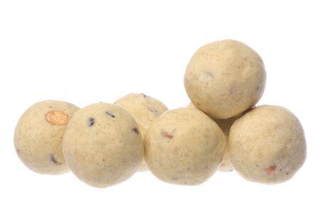 Isolated macro image of Indian ghee balls.
