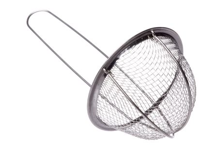 sieve: Isolated macro image of a metal sieve.