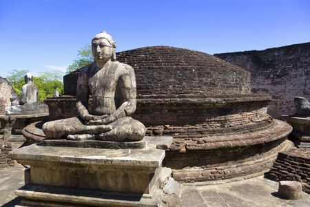 Image of Buddha statues at the ancient Vatadage at Polonnaruwa, Sri Lanka. The Vatadage is a stupa house or relic shrine built around the 11th and 12th century AD. This is a UNESCO World Heritage site.