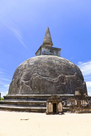 best ad: Image of UNESCOs World Heritage Site of Kiri Vehera, located at Polonnaruwa, Sri Lanka. The work of Queen Subhadra, one of the consorts of King Parakramabahu (1153-1186 AD), it is the best preserved of Sri Lankas un-restored dagobas.  Stock Photo