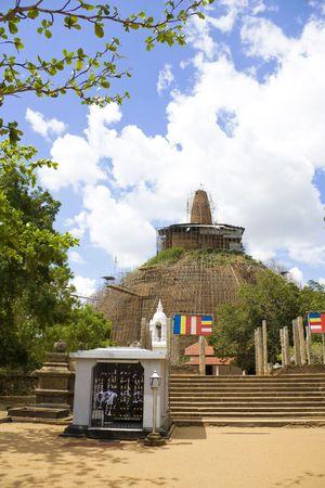 dagoba: Abhayagiriya Dagoba located at Anuradhapura, Sri Lanka, being restored.