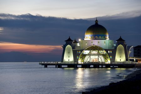 Straits Mosque located at Malacca, Malaysia on the Straits of Malacca.