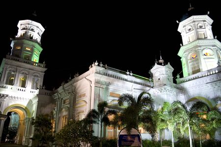 Sultan Abu Bakar Mosque at night. The mosque is located at Johore Bahru, Malaysia and was completed in 1900. The architectural style is mainly Victorian. Stock Photo