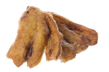 platanos fritos: Imagen de macro aislados de pl�tanos fritos.  Foto de archivo