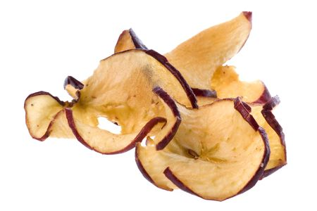 Isolated macro image of apple chips. Stock Photo