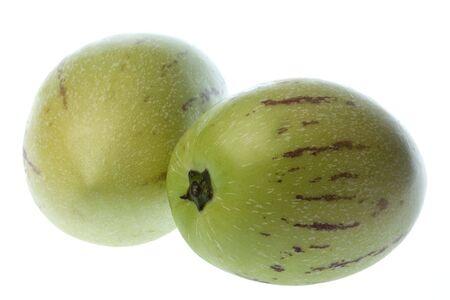 Imagen de macro aislados de peras de pepino dulce o melón.