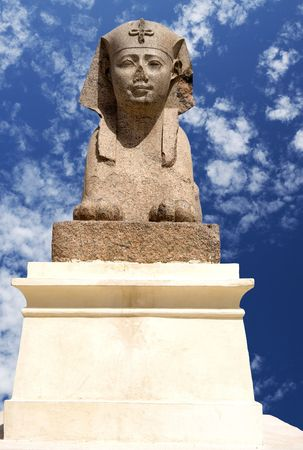 alexandria egypt: Image of Ptolemaic Sphinx at Pompeys Pillar, Alexandria, Egypt.