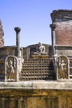Image of the ancient Vatadage at Polonnaruwa, Sri Lanka. The Vatadage is a stupa house or relic shrine built around the 11th and 12th century AD. This is a UNESCO World Heritage site. photo