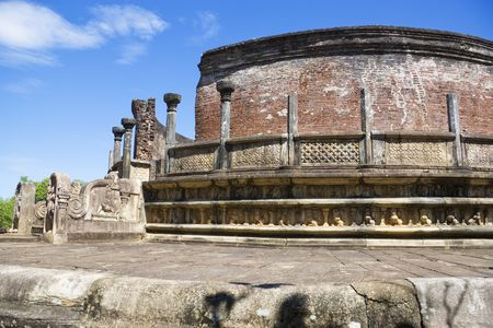 polonnaruwa: Image of the ancient Vatadage at Polonnaruwa, Sri Lanka. The Vatadage is a stupa house or relic shrine built around the 11th and 12th century AD. This is a UNESCO World Heritage site. Stock Photo