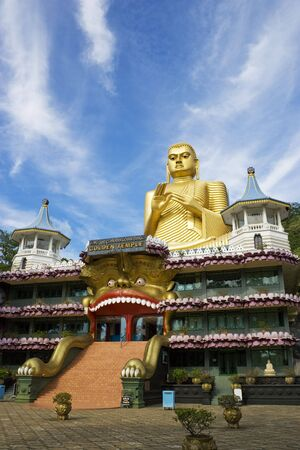 Image of UNESCOs World Heritage site, the Golden Temple at Dambulla, Sri Lanka.  photo