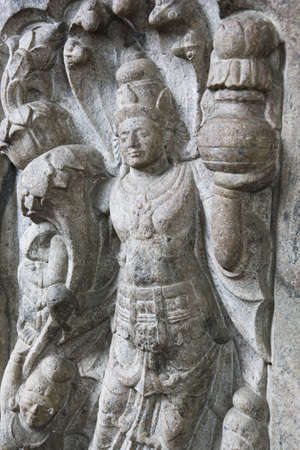kandy: Image of a stone guardian near the sacred at UNESCOs World Heritage site of the Temple of Tooth, Kandy, Sri Lanka.