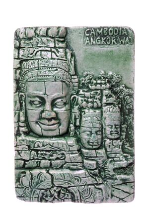 historical sites: Isolated macro image of a Cambodian porcelain fridge magnet depicting historical sites and culture of Cambodia.