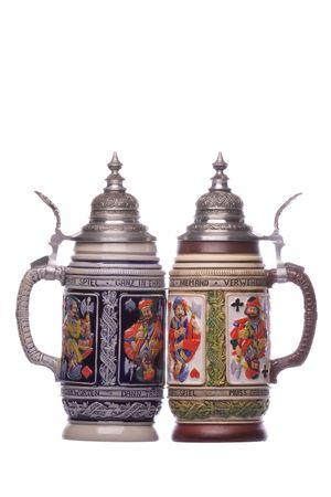 Isolated image of German beer mugs.