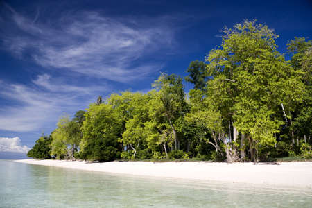 Image of a remote Malaysian tropical island with deep blue skies, crystal clear waters and greenery. Stock Photo - 8889892