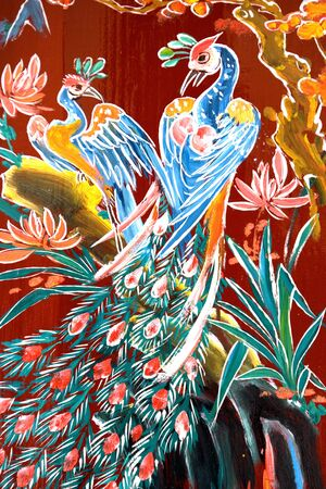 taoisme: Traditionele illustratie op een muur Chinese tempel in Maleisi Stockfoto