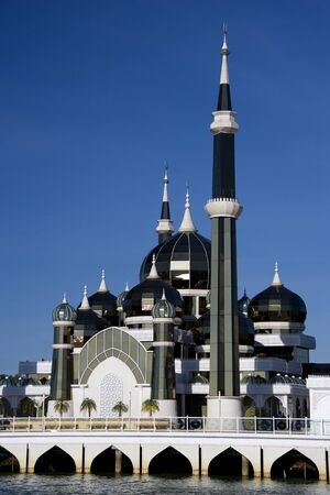Crystal Mosque, located at Kuala Terengganu, Malaysia. This modern mosque is made mainly of glass, hence the name.