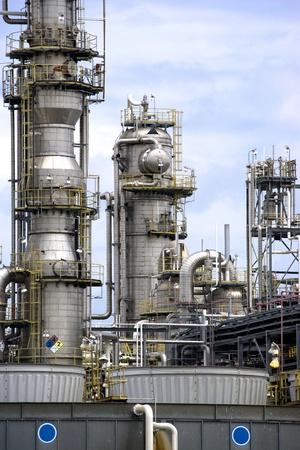 smokestacks: Equipment at an oil refinery facility. Stock Photo