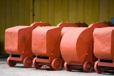 secondhand: Image of second-hand cement mixers for sale at a village shop. Stock Photo