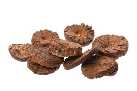 betelnut: Isolated macro image of betel nut slices.