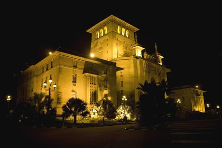 The Johore State Secretariat Building at Johore Bahru, Malaysia, taken at night. Built of Renaissance style with an overlay of Anglo-Malay influence, the building was constructed in 1940.