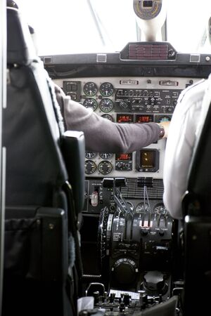 Image of the pilot's cockpit and flight controls. Stockfoto