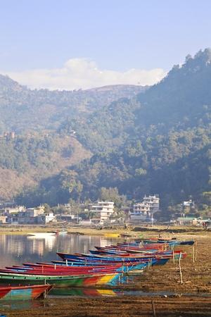 pokhara: Image of the town of Pokhara, Nepal.  Stock Photo
