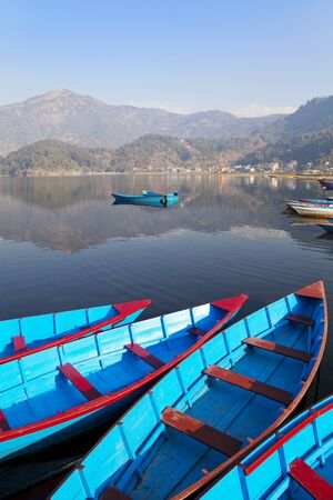 phewa: Image of Lake Phewa at Pokhara, Nepal. It is the second largest lake in Nepal and lying at an altitude of 784 m (2,572 ft).