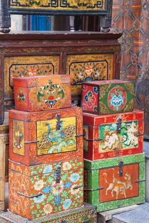 lacquered: Image of traditional Nepalese trinket boxes for sale. Stock Photo