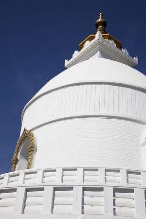 pokhara: Image of the World Peace Stupa at Pokhara, Nepal.  Stock Photo