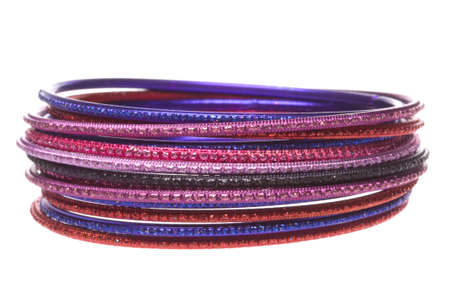 Isolated macro image of traditional Nepalese bangles. photo