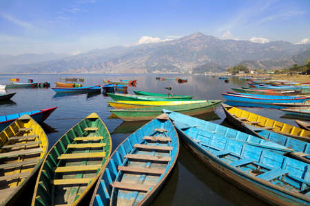 tal: Image of Lake Phewa at Pokhara, Nepal. It is the second largest lake in Nepal and lying at an altitude of 784 m (2,572 ft).