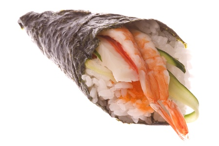 california roll: Isolated image of Temaki Zushi or hand rolled sushi.