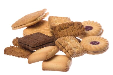 Isolated macro image of assorted biscuits.