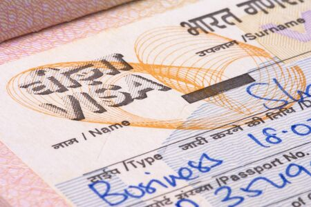 foreign nation: Image of a Indian visa. Stock Photo