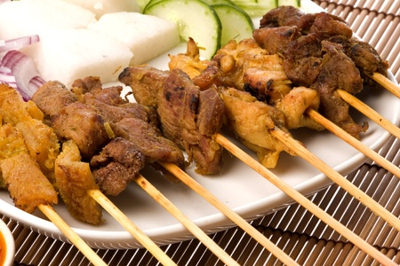 mutton: Image of a Malaysian delicacy commonly known as Satay (bamboo stick skewered barbequed meat). Stock Photo