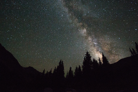 arching: Milky way arching over silhouetted trees and mountains
