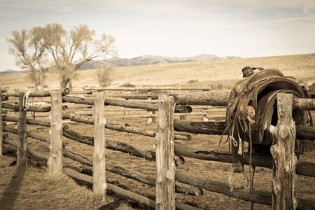 Sepia old brown fence with tree and saddle