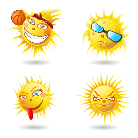 Spring Sun Face with sunglasses and Happy Smile. Vector Illustration 版權商用圖片